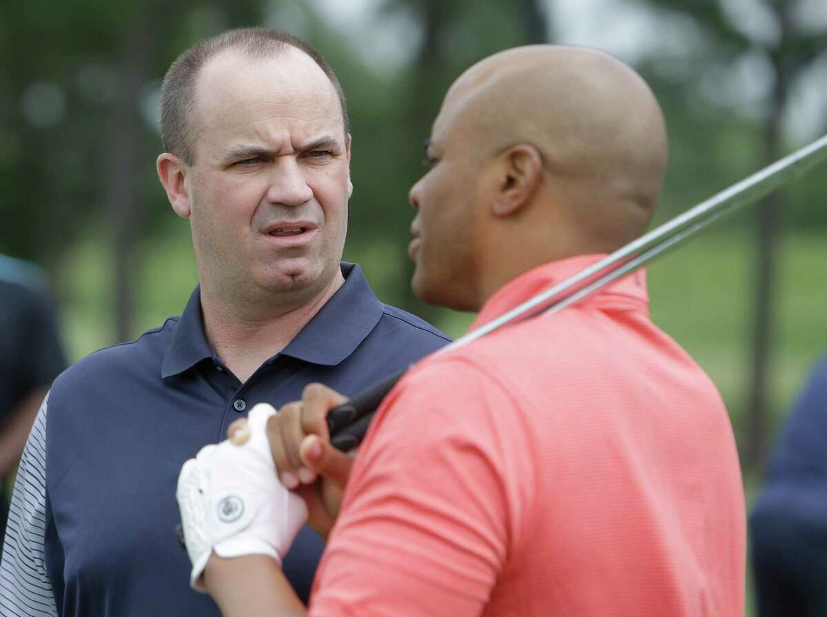 Texans Coach Bill O'Brien and GM Rick Smith are shown during the Texans charity golf tournament at River Oaks Country Club, 1600 River Oaks Blvd., Monday, May 9, 2016, in Houston.