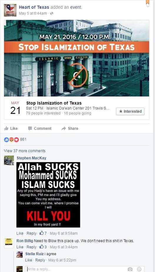 The Houston chapter of the Council on American-Islamic Relations contacted the FBI and state authorities Monday, May 9, 2016, about a Facebook comment advocating blowing up part of the Islamic Da'wah Center. Photo: Facebook, CAIR