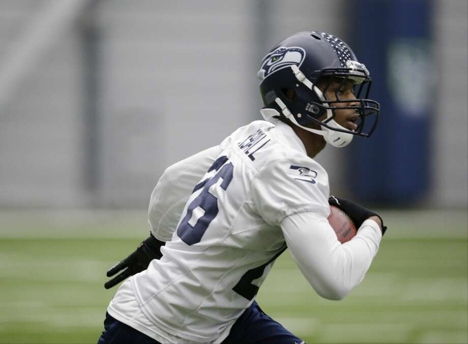 Seattle Seahawks cornerback Jamal Marshall runs with the ball during a rookie minicamp workout Sunday, May 8, 2016, in Renton, Wash. (AP Photo/Elaine Thompson) Photo: AP