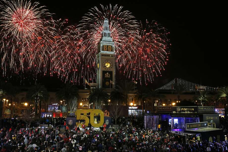 Fireworks go off behind the Ferry Building on the opening night of events for the Super Bowl City Jan. 30, 2016, in San Francisco. Photo: Leah Millis, The Chronicle