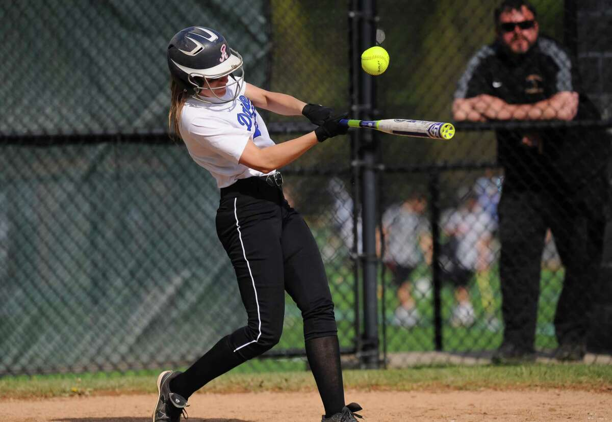 FCIAC softball action between the Darien Blue Wave and the Westhill Vikings at Darien High School on May 9, 2016 in Darien, Connecticut.