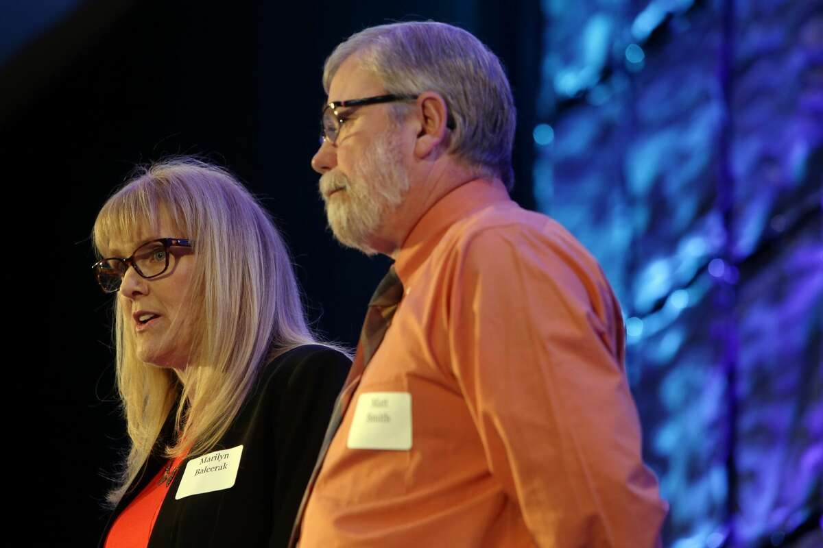 Marilyn Balcerak and partner Matt Smith speak during the Washington Alliance for Gun Responsibility's annual luncheon, Monday, May 9, 2016, at the Seattle Westin. They lost two children to gun violence. The event raised money for for ballot measure I-1491 which would provide for Extreme Risk Protection Orders that allow families and law enforcement to petition the court to temporarily suspend a person's access to firearms if there is evidence they are a threat to themselves or others. (Genna Martin, seattlepi.com)