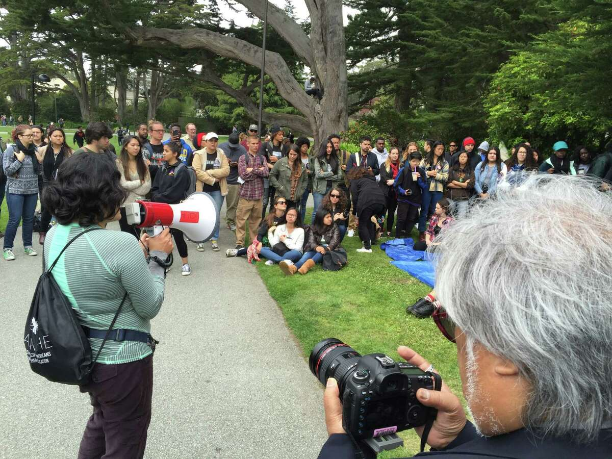 A rally was held Monday, May 9, 2016, supporting four students on a hunger strike to protest cuts made to the ethnic studies program at San Francisco State University.