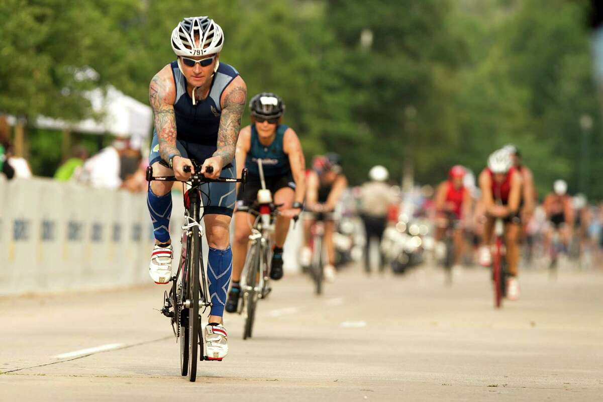 Residents' traffic complaints have focused on the cycling portion of the Ironman triathlon, shown in 2013.