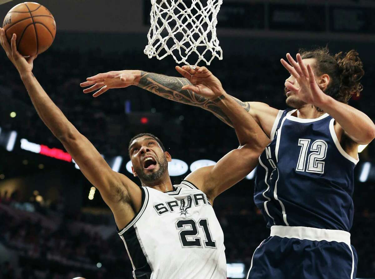 Tim Duncan adds two against Steven Adams as the Spurs host the Thunder in game 1 of second round NBA playoff action at the AT&T Center on April 230, 2016.