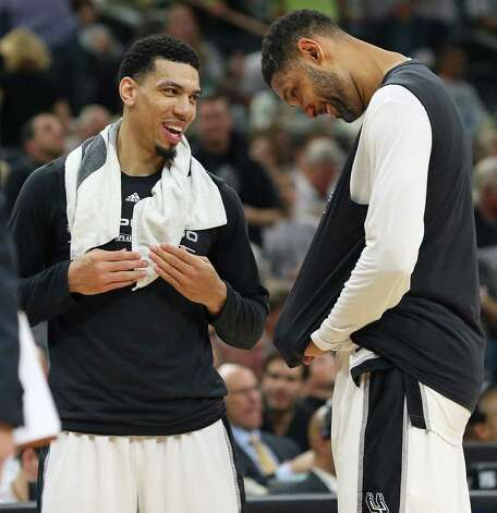 Danny Green and Tim Duncan enjoy the second half on the bench as the Spurs host the Thunder in game 1 of second round NBA playoff action at the AT&T Center on April 230, 2016. Photo: TOM REEL, STAFF / SAN ANTONIO EXPRESS-NEWS / 2016 SAN ANTONIO EXPRESS-NEWS