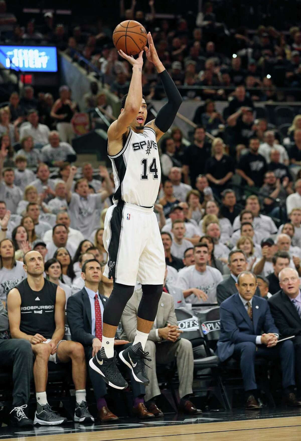 Danny Green gets everyone's attention as he launches a three pointer in the first half as the Spurs host the Thunder in game 1 of second round NBA playoff action at the AT&T Center on April 23, 2016.
