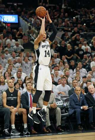 Danny Green gets everyone's attention as he launches a three pointer in the first half as the Spurs host the Thunder in game 1 of second round NBA playoff action at the AT&T Center on April 230, 2016. Photo: TOM REEL,  STAFF / SAN ANTONIO EXPRESS-NEWS / 2016 SAN ANTONIO EXPRESS-NEWS
