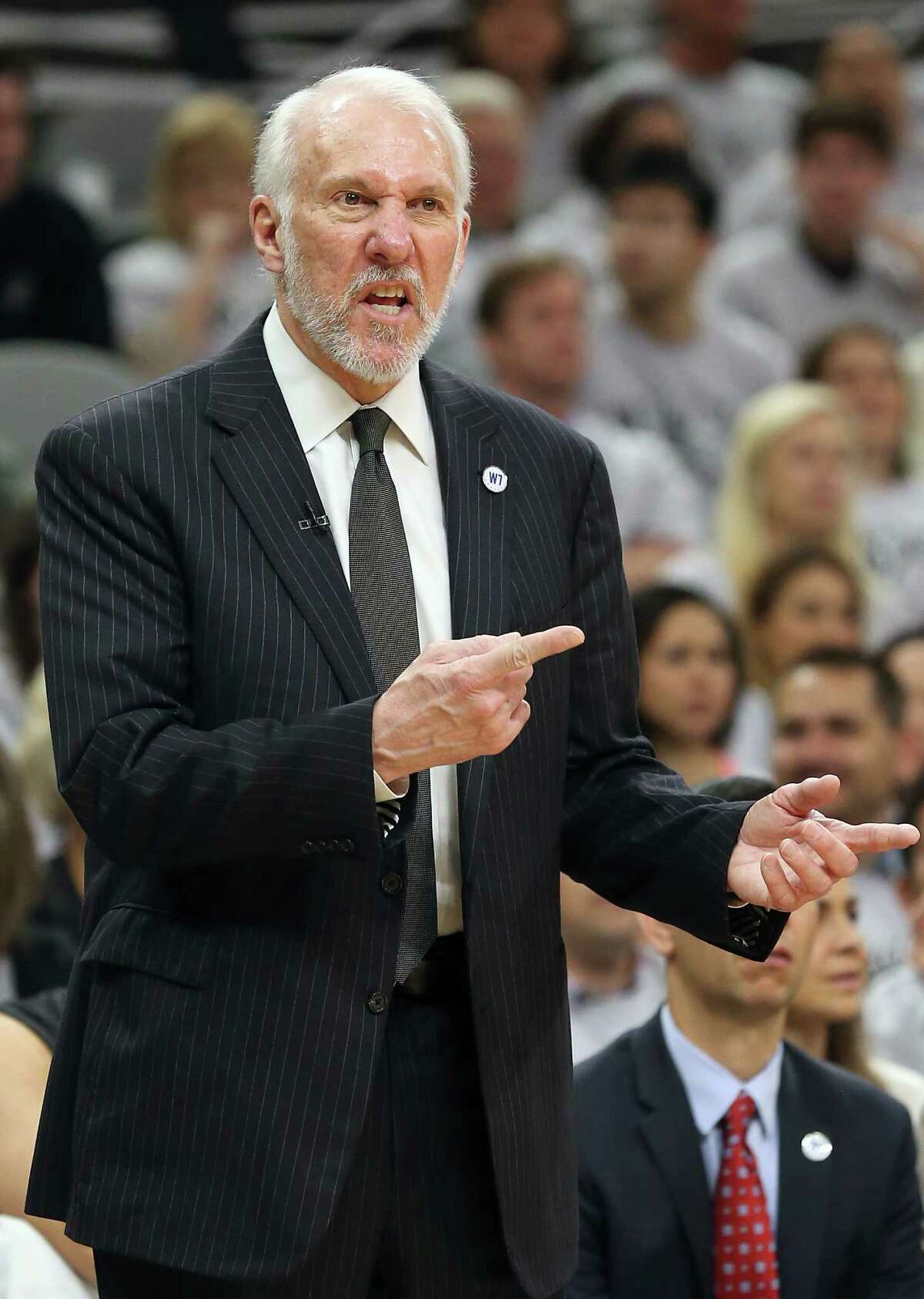 Gregg Popovich directs his players as the Spurs host the Thunder in game 1 of second round NBA playoff action at the AT&T Center on April 230, 2016.