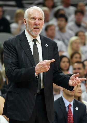 Gregg Popovich directs his players as the Spurs host the Thunder in game 1 of second round NBA playoff action at the AT&T Center on April 230, 2016. Photo: TOM REEL,  STAFF / SAN ANTONIO EXPRESS-NEWS / 2016 SAN ANTONIO EXPRESS-NEWS