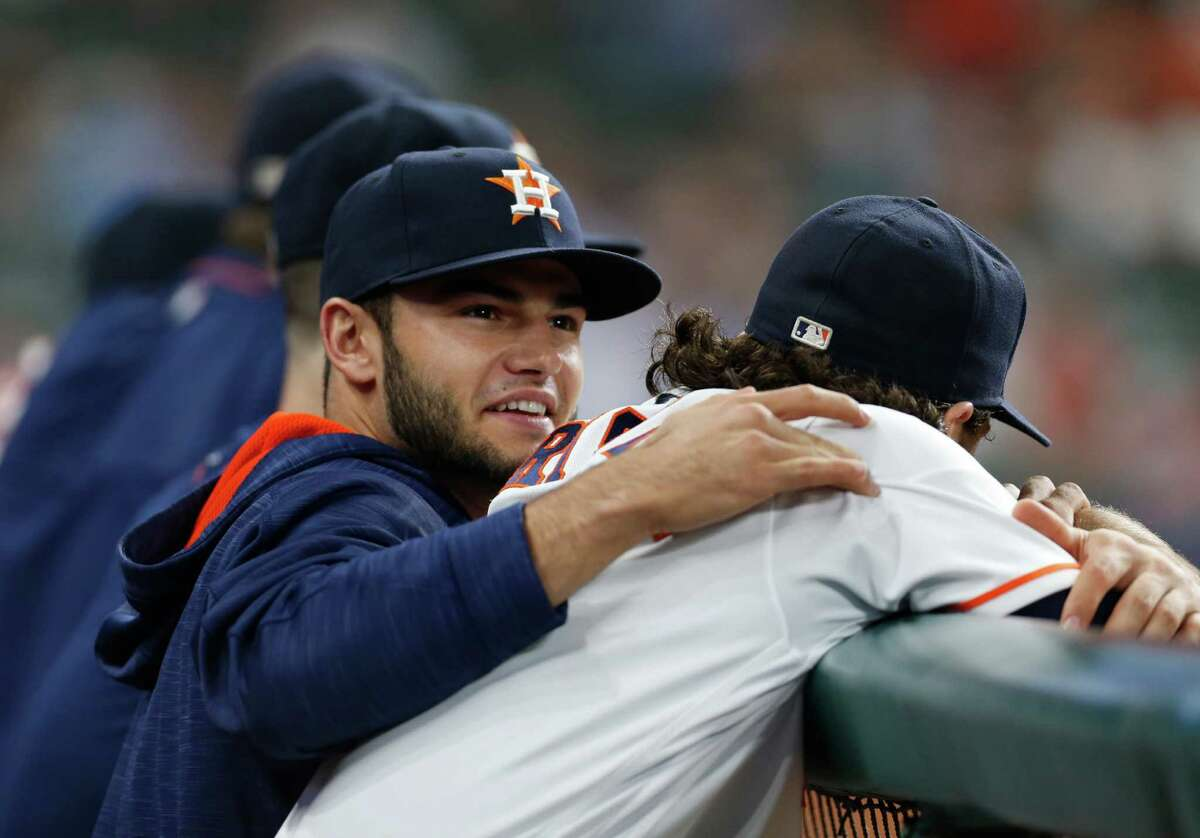 Houston Astros starting pitcher Lance McCullers (43) in the dugout with Jake Marisnick during the seventh inning of an MLB baseball game at Minute Maid Park, Monday, May 9, 2016, in Houston.