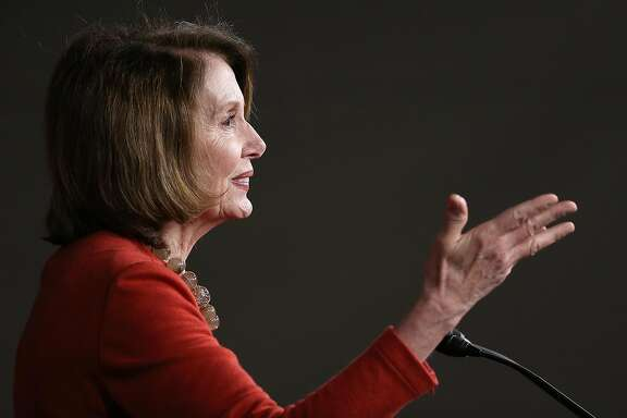 WASHINGTON, DC - APRIL 29:  House Minority Leader Nancy Pelosi (D-CA) answers questions during her weekly press conference April 29, 2016 in Washington, DC. Pelosi commented on a range of issues during the press conference, including brief remarks on the ongoing race for the U.S. presidency, and the legislative agenda of the House of Representatives. (Photo by Win McNamee/Getty Images)