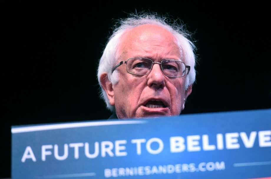 Bernie Sanders, shown in Atlantic City on Sunday, spoke in Sacramento on Monday. Photo: JEWEL SAMAD, AFP/Getty Images