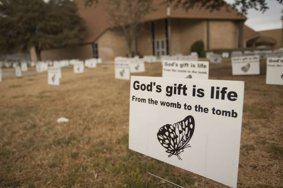 Grace Lutheran Church has filled their yard with signs. Tim Fischer\Reporter-Telegram Photo: Tim Fischer
