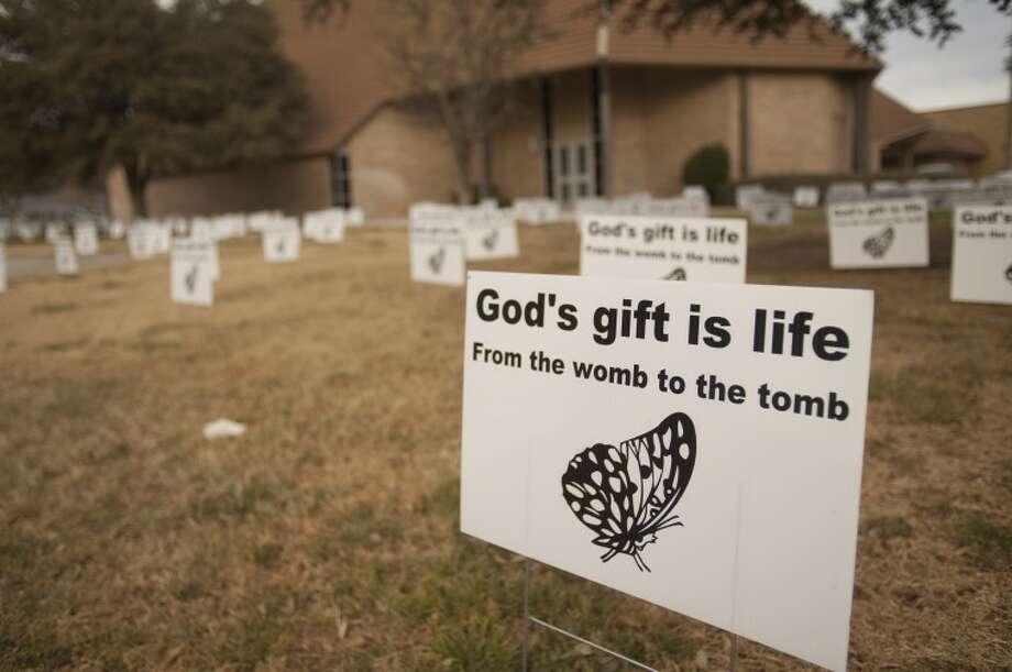 Grace Lutheran Church has filled their yard with signs. Tim Fischer\Reporter-Telegram Photo: Tim Fischer