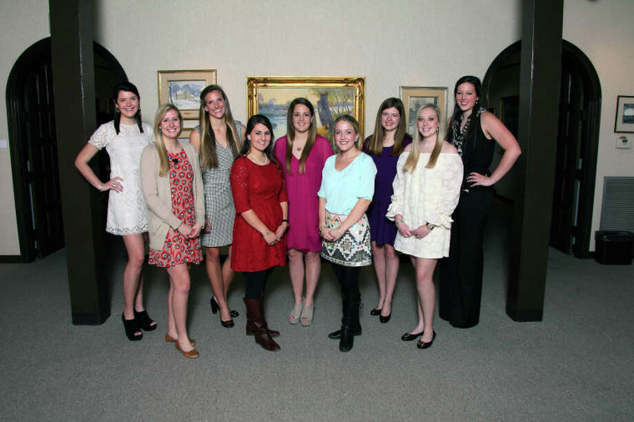 Luncheon at the Haley Library: Claire Renaud, from left, Carly Tull, Maddie Spinks, Abbye Cremer, Callie Davenport, Clare Hickey, Libby Norwood, Catherine Gerald and Carole Anne Nelson. LEFT Escorts' luncheon: Ty Parkison, bottom row from left, Coleman Floyd, Ross Montgomery, Hayden Smith, Brad Strake; and Cody Mulloy, top row from left, John Bertelson, Tripp Edwards, John Lewis and Nelson Grimes.