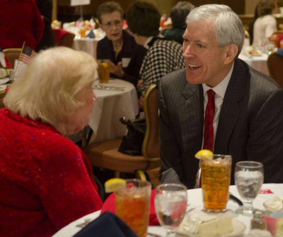 Senate candidate Tom Leppert talks with Iris Englet Wednesday afternoon at the Midland County Republican Women's luncheon. Photo by Tim Fischer/Midland Reporter-Telegram Photo: Tim Fischer