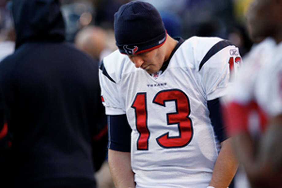 Houston Texans quarterback T.J. Yates walks along the side lines during the second half of an NFL divisional playoff football game against the Baltimore Ravens in Baltimore, Sunday, Jan. 15, 2012. The Ravens defeated the Texans 20-13. (AP Photo/Patrick Semansky) Photo: Patrick Semansky / AP