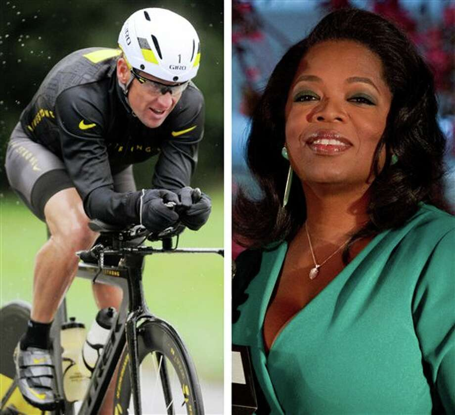 FILE - This combination image made of file photos shows Lance Armstrong, left, on Oct. 7, 2012, and Oprah Winfrey, right, on March 9, 2012. Armstrong plans to admit to doping throughout his career during an upcoming interview with Oprah Winfrey, USA Today reported late Friday, Jan. 11, 2013. (AP Photos/File) Photo: Charles Sykes,Steve Ruark / AP2013