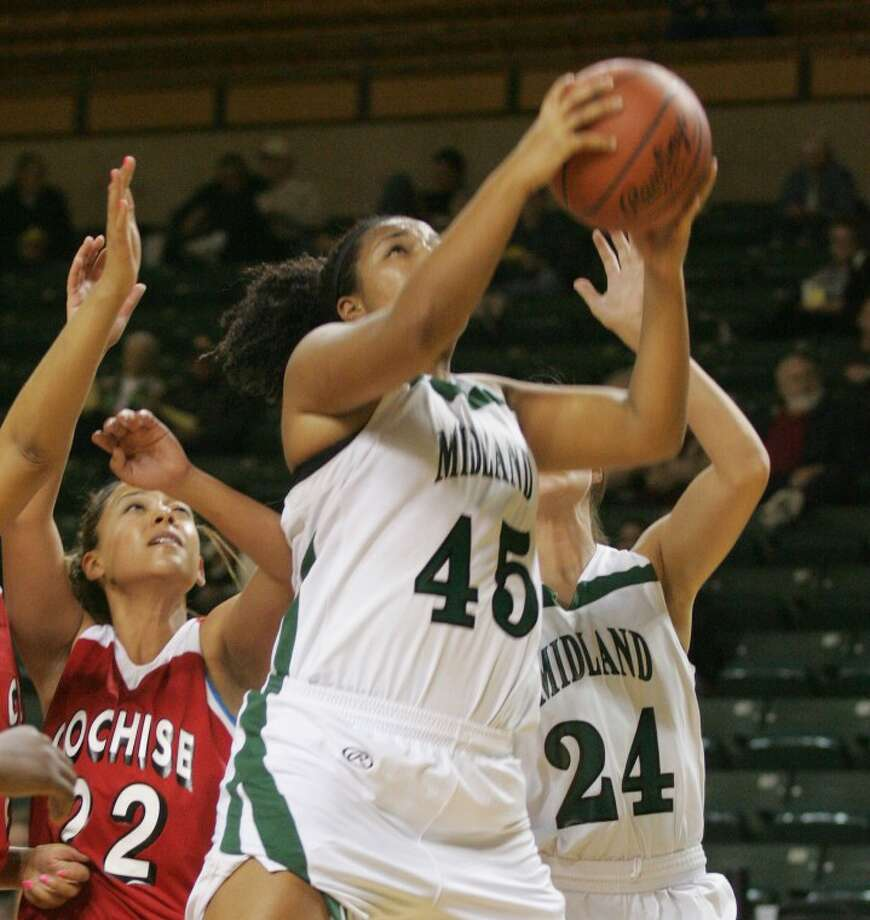 Midland College's Nety Sousa (45) takes the shot for two during a game earlier this season against Cochise at the Chaparral Center. Cindeka Nealy/Reporter-Telegram Photo: Cindeka Nealy