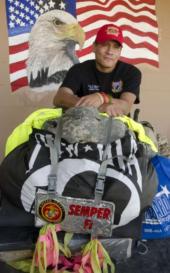 USMC veteran Eddie Gray rests at the American Legion in Midland Thursday afternoon on his walk across America. Photo by Tim Fischer/Midland Reporter-Telegram Photo: Tim Fischer