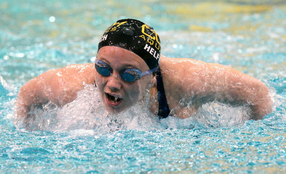 Lindsay Helferich of the COM Aquatics swim team, competes in the 200-yard butterfly event during the 43rd Syntal Capital Partners Winter Invite Saturday at COM. Helferich won the event with a time of 2:16.38. James Durbin/Reporter-Telegram Photo: JAMES DURBIN
