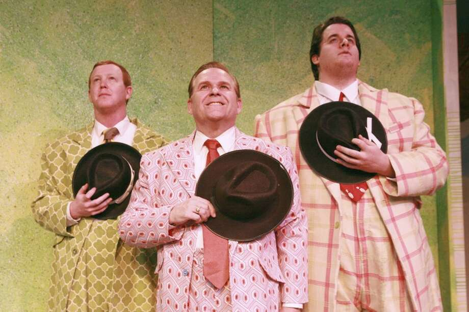 "Joshua Sparks (Benny), from left, John Briggs (Nathan) and Brian Gravelle (Nicely) will perform in the musical ""Guys and Dolls"" at the Cole Theatre. Cindeka Nealy/Reporter-Telegram Photo: Cindeka Nealy"