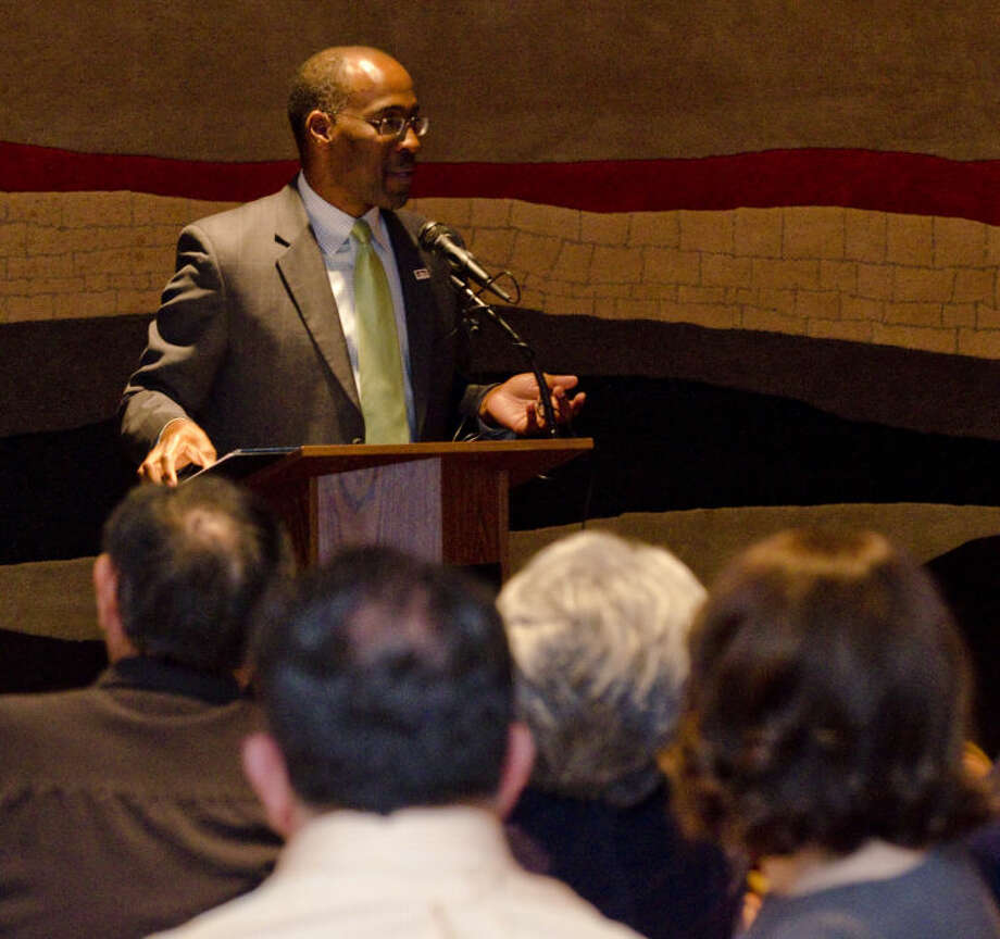 John James speaks Thursday at the League of Women Voters luncheon. James was honored as a difference maker for Midland. Tim Fischer\Reporter-Telegram Photo: Tim Fischer
