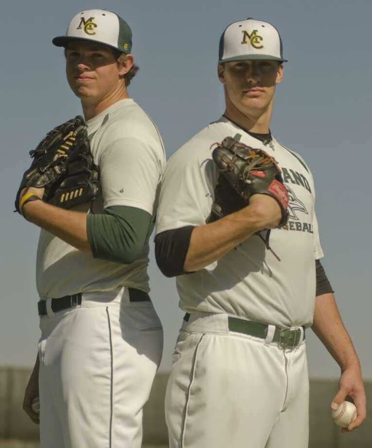 Levi Westerlund, left, and Colter Bostick, pitchers for Midland College. Photo by Tim Fischer/Midland Reporter-Telegram Photo: Tim Fischer