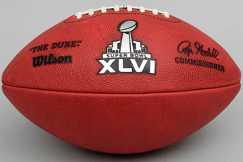 The official football for the NFL Super Bowl XLVI, in Indianapolis. Photo: Tony Dejak / AP2012