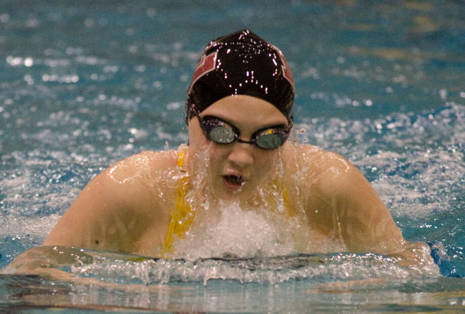 Keely Martin swims the breast stroke in the girls 200 yard medley relay Saturday at a district meet at Mabee Aquatic Center. Tim Fischer\Reporter-Telegram Photo: Tim Fischer
