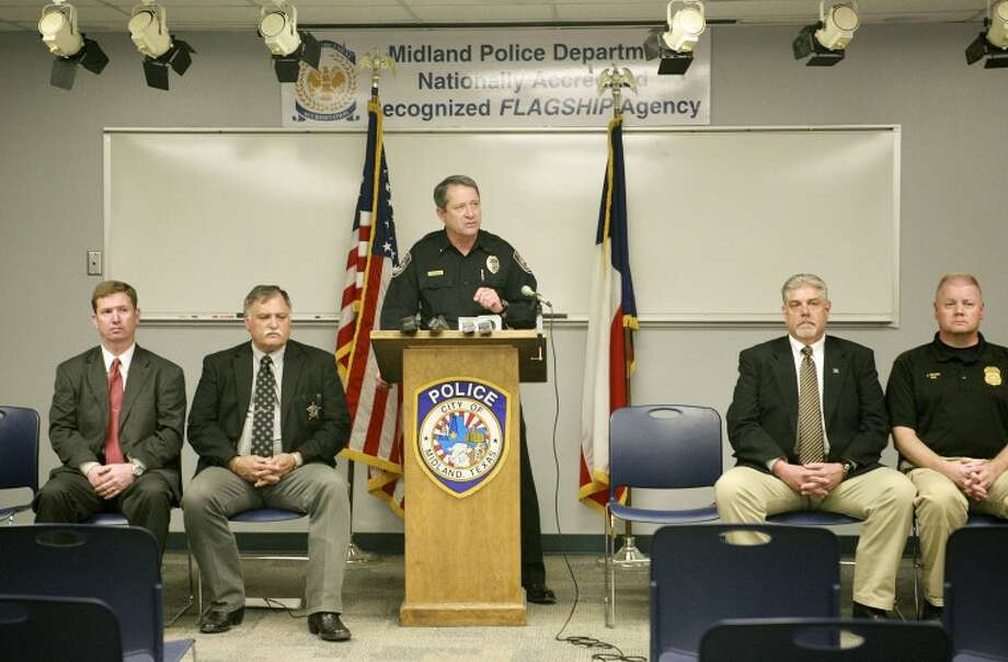 Dept. Chief Jeff Darr leads a press conference about Thursday's massive raid in Midland and Ector counties. The three separate investigations into drug trafficking took a year to conclude and had ties to the Mexican cartels. Cindeka Nealy/Reporter-Telegram Photo: Cindeka Nealy