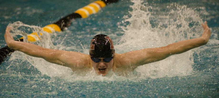 Bryan Platte competes in the boys 200 yard IM Saturday at a district meet at Mabee Aquatic Center. Tim Fischer\Reporter-Telegram Photo: Tim Fischer