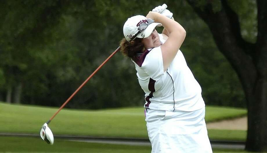Libby Thomas tees off at 14 Monday during the Class 5A Girls State Golf Tournament at Onion Creek Golf Club in Austin. Len Hayward/Reporter-Telegram Photo: Len Hayward