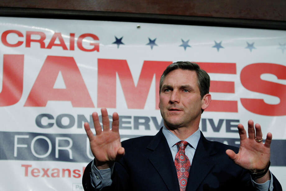 FILE - In this Jan 12, 2012 file photo, former ESPN commentator Craig James is seen announcing his candidacy for U.S. Senate seat in Austin, Texas. James wants to talk about foreign and domestic policy, yet he can't avoid questions or comments about a pair of high-profile college scandals, one when he was 25 years old and another from 2009 that has him tangled in lawsuits that threaten to swamp his campaign for the U.S. Senate in the Republican primary. (AP Photo/Eric Gay, File) Photo: Eric Gay / AP