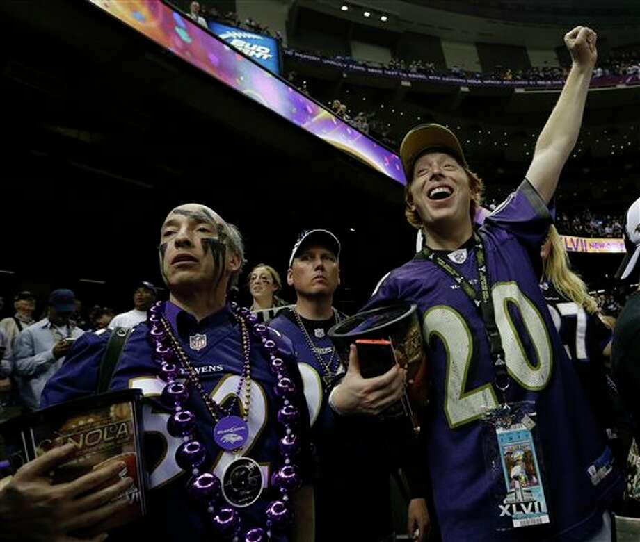 Baltimore Ravens fans celebrate the Baltimore Ravens victory over the San Francisco 49ers 34-31 during the NFL Super Bowl XLVII football game Sunday, Feb. 3, 2013, in New Orleans. (AP Photo/Elise Amendola) Photo: Elise Amendola / AP