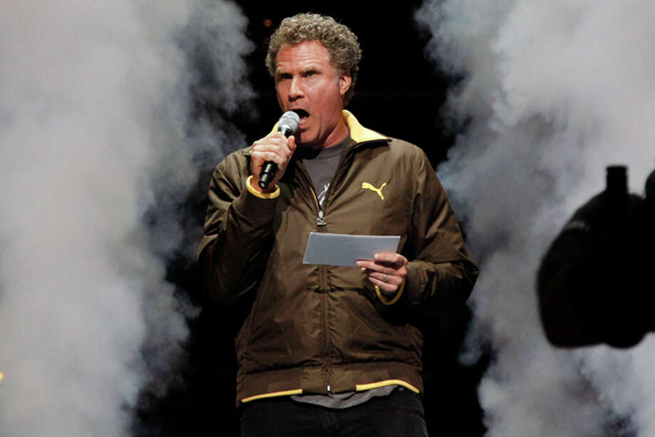 Actor Will Ferrell announces the starting lineups for the New Orleans Hornets and the Chicago Bulls for an NBA basketball game in New Orleans, Wednesday, Feb. 8, 2012. (AP Photo/Bill Haber) Photo: Bill Haber / FR170136 AP