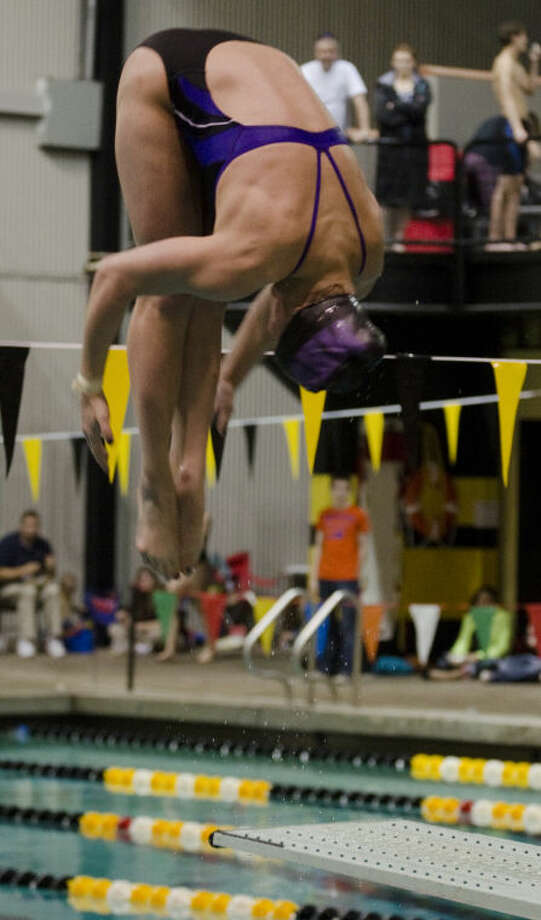 Anna James competes in thge girls 1 meter diving Saturday at a district meet at Mabee Aquatic Center. Tim Fischer\Reporter-Telegram Photo: Tim Fischer