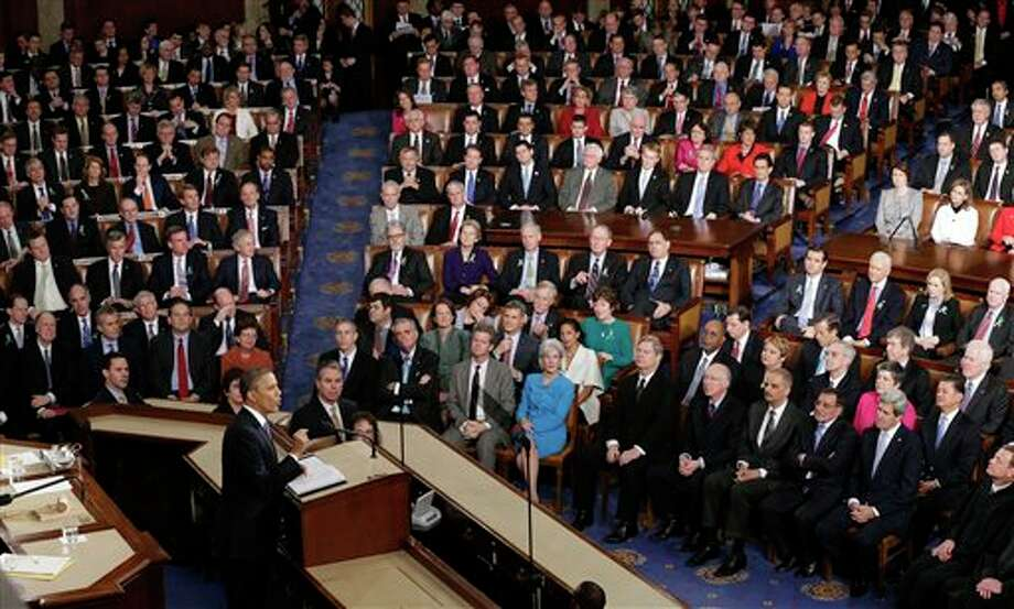 President Barack Obama gives his State of the Union address during a joint session of Congress on Capitol Hill in Washington, Tuesday Feb. 12, 2013. (AP Photo/J. Scott Applewhite) Photo: J. Scott Applewhite / AP2013