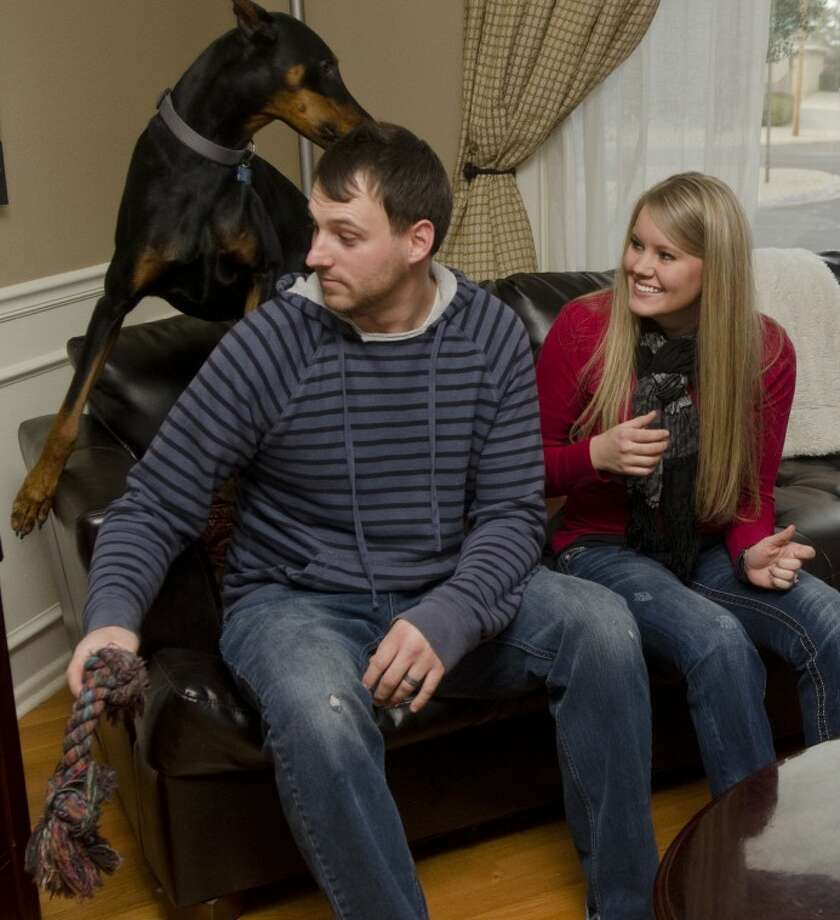 Tim and Katherine Hird play with their 1-year-old dog, Major, Saturday evening at their home. Photo by Tim Fischer/Midland Reporter-Telegram Photo: Tim Fischer