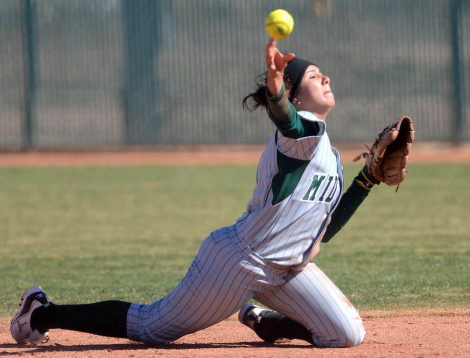 Midland College's Naomi Posada fields the ball to first base to get an out against Cisco Wednesday at the Midland College softball field. James Durbin/Reporter-Telegram Photo: JAMES DURBIN
