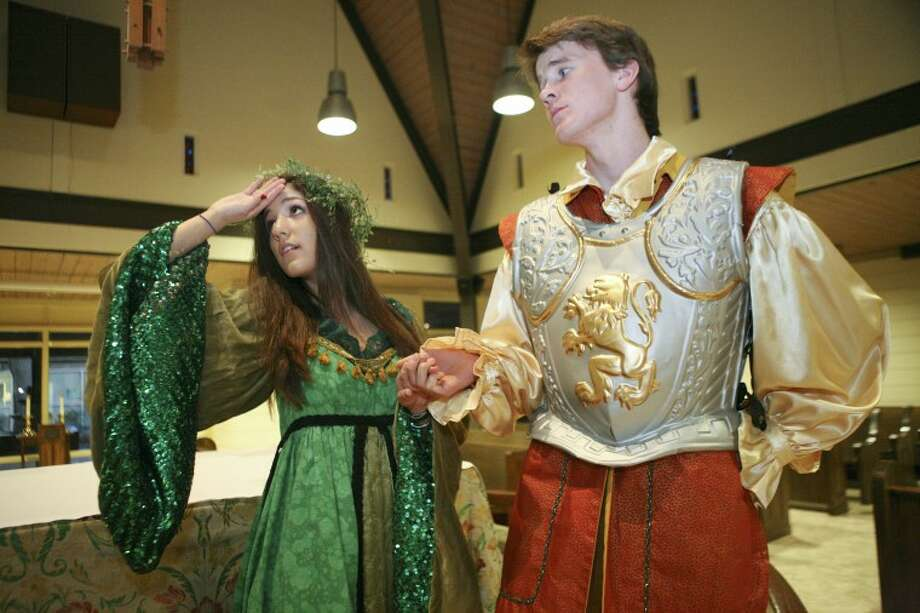 "In this scene from Trinity School's upcoming production of ""Once upon a Mattress,"" Lady Larkin (Isabel Nosek) is distraught over Sir Harry's (Paul Dingus) departure. Cindeka Nealy/Reporter-Telegram Photo: Cindeka Nealy"