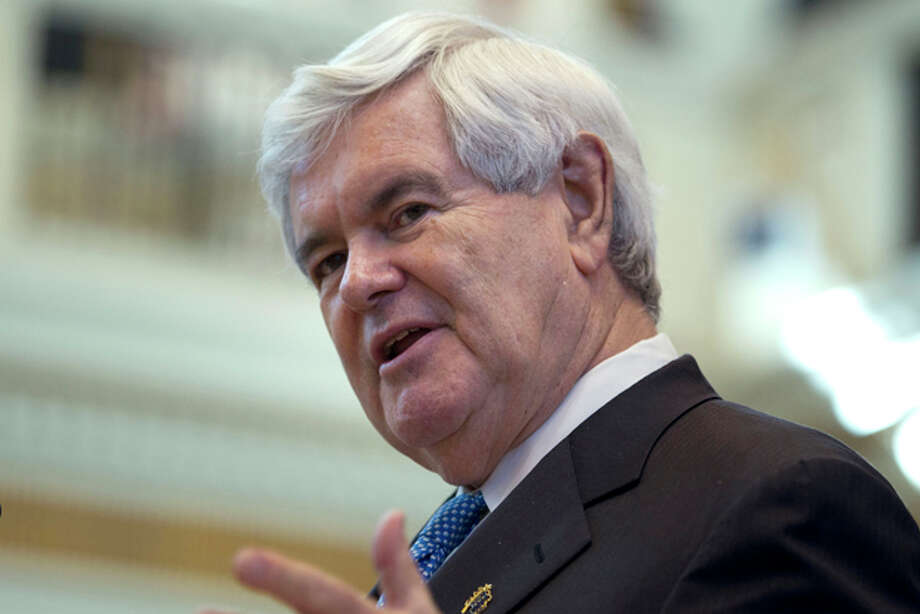 Republican presidential candidate, former House Speaker Newt Gingrich speaks on the floor of the Oklahoma State Legislature in Oklahoma City, Okla., Tuesday, Feb. 21, 2012. (AP Photo/Evan Vucci) Photo: Evan Vucci / AP