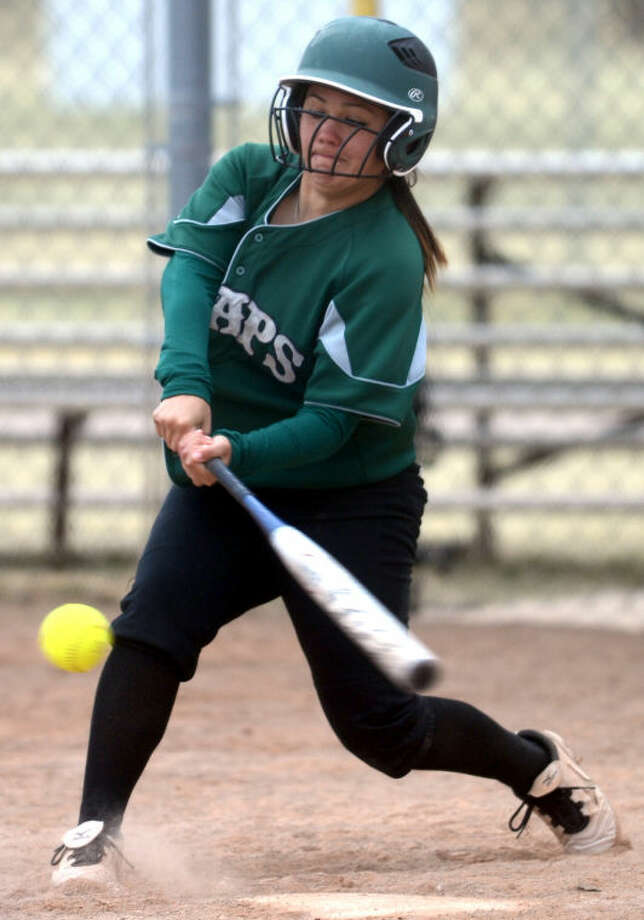 Midland College's Marlene Fields connects with a pitch during the game against Dodge City on Friday at the Freddie Ezell Softball Complex. James Durbin/Reporter-Telegram Photo: JAMES DURBIN
