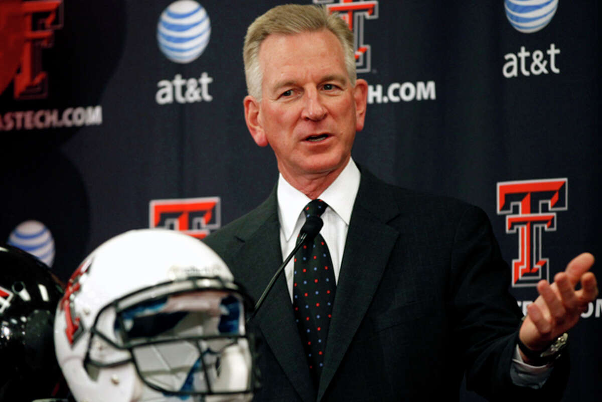 Texas Tech coach Tommy Tuberville speaks during an NCAA college football national signing day news conference, Wednesday, Feb. 1, 2012, in Lubbock, Texas. (AP Photo/The Lubbock Avalanche-Journal, Stephen Spillman)