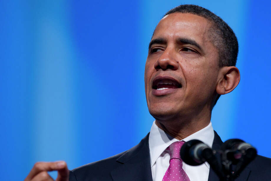 President Barack Obama speaks during the American Israel Public Affairs Committee's (AIPAC) annual Policy Conference at the Washington Convention Center on Sunday, March 4, 2012, in Washington. (AP Photo/Carolyn Kaster) Photo: Carolyn Kaster / AP