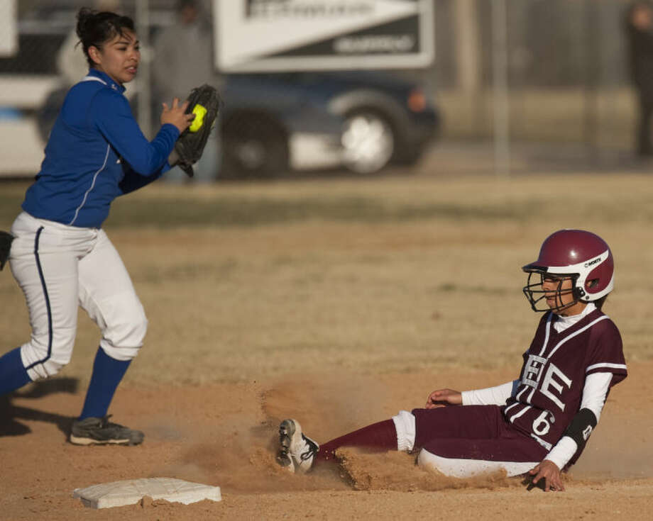 Midland Lee's Gabby Hernandez safely slides into second on a steal as Ft Stockton's Jericha Martinez gets the ball late during a game Thursday at the West Texas Classic Softball Tournament. Tim Fischer\Reporter-Telegram Photo: Tim Fischer
