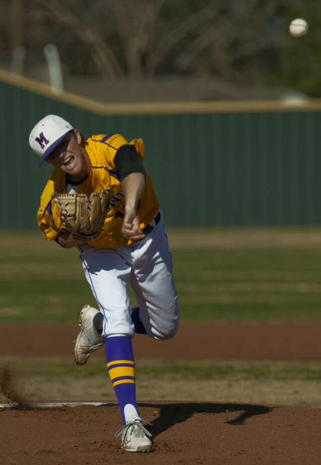 Midland High starting pitcher Jackson Lancaster delivers a pitch Monday against Permian at Zachery Field. Tim Fischer\Reporter-Telegram Photo: Tim Fischer