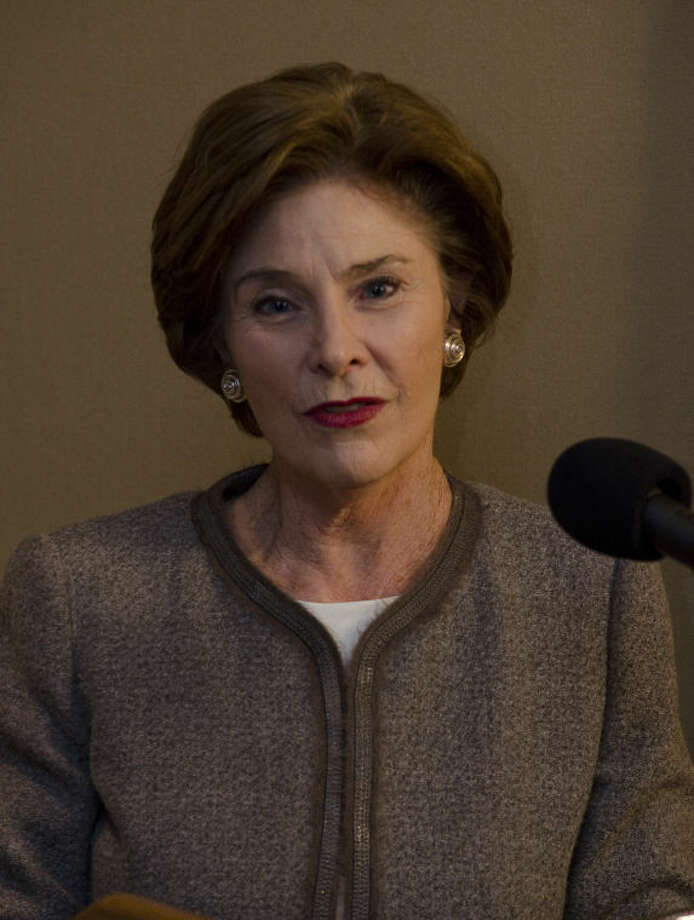 Laura Bush speaks to the media at the Jenna Welch Nature Study Center symposium Friday morning at the Petroleum Club. Tim Fischer\Reporter-Telegram Photo: Tim Fischer