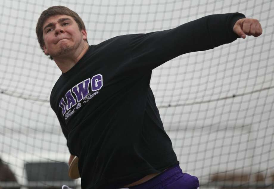Mudland High's Dutton Watson throws the shotput Saturday during the West Texas Relays in Odessa. Heather Leiphart|Odessa American